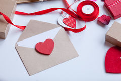 Envelope and gifts for wrapping Royalty Free Stock Photography