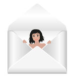 Envelope with girl peeking out Royalty Free Stock Images