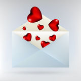 Envelope with glassy red hearts. EPS 8 Stock Photos