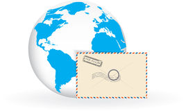 Envelope and globe Stock Photo