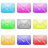 Envelope glossy set1 Royalty Free Stock Image
