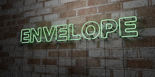 ENVELOPE - Glowing Neon Sign on stonework wall - 3D rendered royalty free stock illustration Royalty Free Stock Images