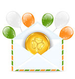 Envelope with golden coin and colorful balloons Stock Images
