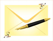 Envelope and golden pen Royalty Free Stock Images
