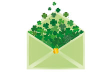 Envelope with green clover inside. St.Patrick `s Day. Vector. Illustration. Greeting card with empty space for text or advertising Royalty Free Stock Image