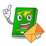 With envelope green passport in the cartoon shape. Vector illustration royalty free illustration