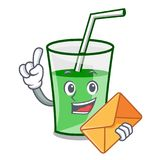 With envelope green smoothie character cartoon. Vector illustration stock illustration