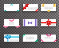 Envelope greeting cards with bows for mobile web apps red gift  ribbons icons set flat design vector illustration Stock Photography