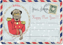 Envelope.hand drawing of monkey.happy new year. Vintage postcard.hand drawing of monkey.happy new year.vector illustration vector illustration