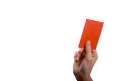 Envelope in hand. Hand holding a red envelope on a white background Stock Photo