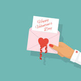 Envelope with heart in hand. Woman holds an open envelope with heart in the hand. Text on a sheet Happy Valentine`s Day, as a template. Vector illustration flat Stock Photo