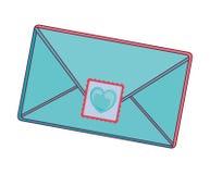 Envelope with heart post stamp. Envelope letter with post stamp hearth shape. vector illustration royalty free illustration