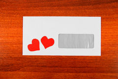 Envelope with a Heart Shapes Stock Photos