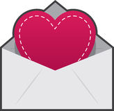 Envelope Heart Stitching Royalty Free Stock Images