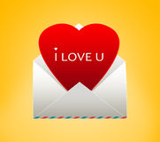Envelope with a heart for Valentine's day. I love you Royalty Free Stock Images