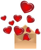 Envelope with hearts Royalty Free Stock Image