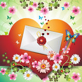 Envelope with hearts. Flowers and butterflies for Valentine's day Royalty Free Stock Image