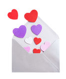 Envelope with hearts Stock Photos