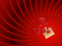 Envelope with hearts and beam Royalty Free Stock Image