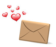 Envelope and hearts. love message Stock Images