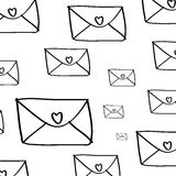 Envelope and hearts pattern on white Stock Photo