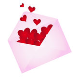 Envelope with hearts popping out Stock Photos