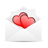 Envelope with hearts to the day of saint Valentin Royalty Free Stock Photos