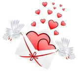 Envelope with hearts to the day of saint Valentin Royalty Free Stock Photography