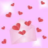 Envelope with hearts Stock Images
