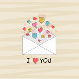 Envelope with hearts for Valentines Day celebration. Stock Images