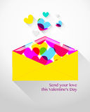 Envelope with hearts for Valentine's Day Royalty Free Stock Photography