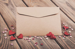 Envelope with hearts- vintage toning Royalty Free Stock Image