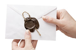 Envelope in his hand Royalty Free Stock Photos