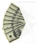 Envelope with hundreds. Envelope with US hundred dollar bills Stock Image