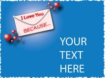 Envelope I love you because ... Stock Images