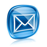 Envelope icon blue glass. Stock Photography