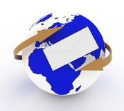 Envelope icon and  earth with arrows. 3d illustration on a white Stock Photography