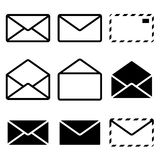 Envelope Icon. Isolated on white background. Set. Illustration royalty free illustration