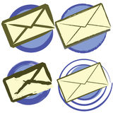 Envelope icon set Stock Photography
