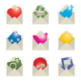 Envelope icons Stock Photos