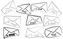 Envelope icons. Set of gray envelope icons Royalty Free Stock Photography