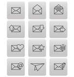 Envelope icons for email on gray squares Royalty Free Stock Image