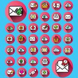 Envelope icons in pink color circle Royalty Free Stock Photography
