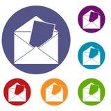 Envelope icons set Stock Photos