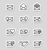 Envelope icons on stikers Stock Photos