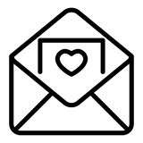 Envelope with invitation card line icon. Letter vector illustration isolated on white. Invitation with a heart outline. Style design, designed for web and app vector illustration