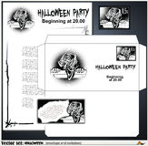 Envelope and an invitation to a party celebrating Halloween Stock Photos