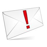Envelope isolated. Envelope with an exclamation mark - white background (isolated vector illustration