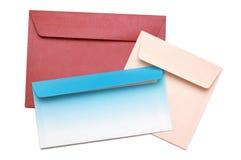 Envelope isolated on white background. Three colored postal envelope isolated on white background Royalty Free Stock Image