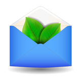 Envelope with leaf. On a white background Stock Photography